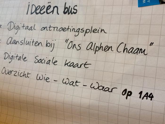 OnsAlphenChaam in de ideeën bus
