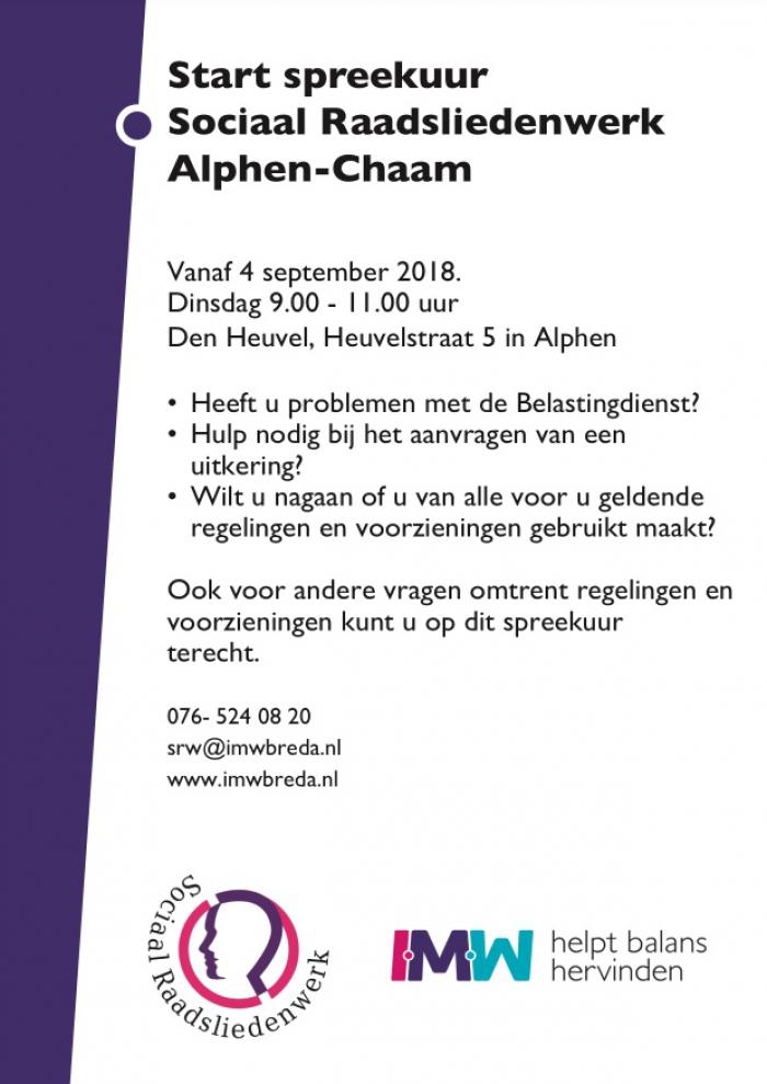Sociaal Raadsliedenwerk spreekuur Alphen-Chaam